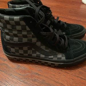 Vans Sk8Hi blk & grey checkerboard sneakers